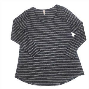 LuLaRoe Grey Striped Long Sleeve Top